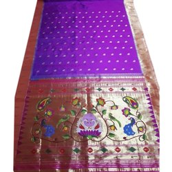 Festive Wear Purple Muniya Brocade Paithani Saree