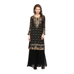 Black Printed Stitched Kurta With Skirt