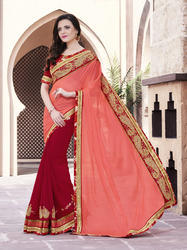 Heavy Embroidered Flower Design Saree