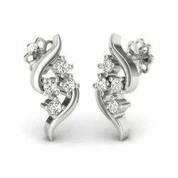 Zevrr 92.5 Sterling Silver Swarovski Zirconia Platinum Plated Designer Stud Earring For Women