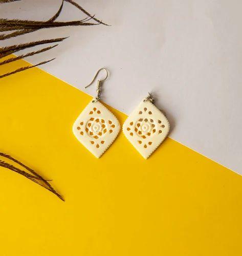White Bone Carving Earring Rs 1200 Pair Curio Cult Id 19513455397