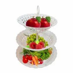3 Layer Multipurpose Space Saving Fruit & Vegetable Storage Baskets, Food-Grade Plastic, White