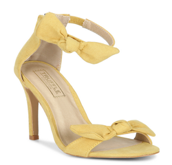 eaa42d46778 Yellow Synthetic Bow Ankle Strap Stilettos