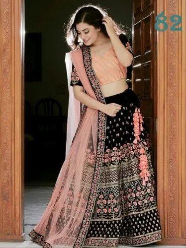 6a1c094d259 Two Color Combination Taffeta Silk Bridal Lehenga:RS226, Bridal ...