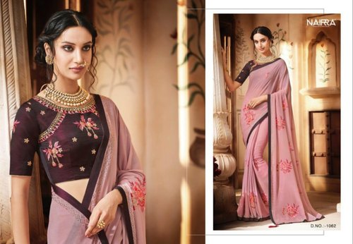 Chinon Pink Embroidered Saree