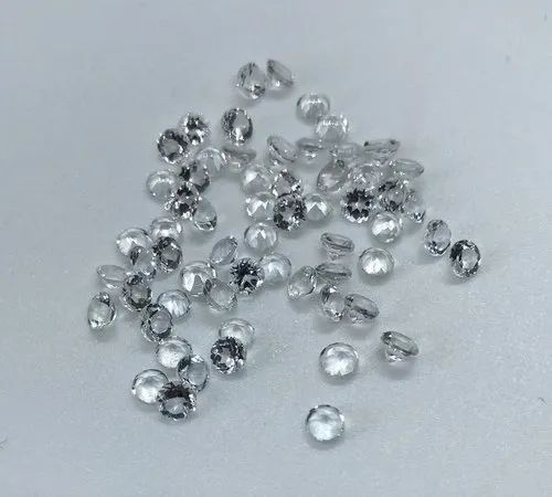 Natural White Topaz Round White Topaz Faceted, for Jewelry