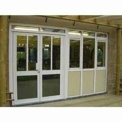 White Aluminium Aluminum Casement Door, for Home, Thickness: 25 To 30mm(profile Thickness)