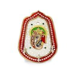 Marble Ganesha Single Three Key Holder