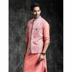 3-Piece Suit Ethnic World Orange Qurta and Waistcoat