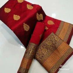Party wear Printed Litchi Silk Saree, Handwash