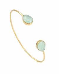 Pear Shape Aqua Chalcedony Micron Gold Plated Womens Beautiful Bangle