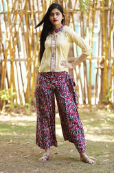 Rayon Skirt Style Palazzo with Crop Top