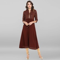 Brown Poly Crepe Kurta(JNE3396)