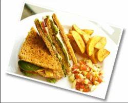 Spinach And Corn Focaccia Sandwich