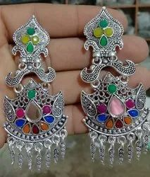 Long Fancy Silver Earring