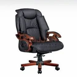 High Back Leather Fixed Arms Office Chair