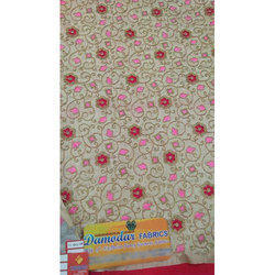 Red And Pink Printed Brocade Fabric
