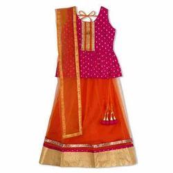 Pink And Orange Cotton And Net Kids Festive Lehenga Choli