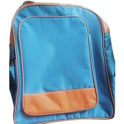 Polyester Blue Plain College Bag