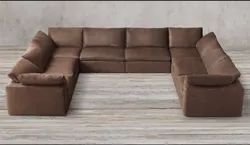 Albatross Brown Manufacturer and Exporter of Real Leather or PU Sofa Sets in U Shapes, Warranty: More Than 5 Year