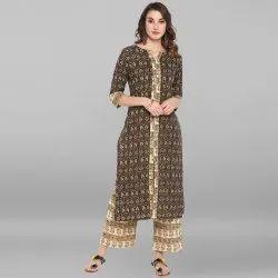 Janasya Women's Multicolor Pure Cotton Kurta With Palazzo(SET190)