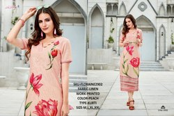 Rachna Linen Digital Printed Work Floraine Catalog Kurti For Women 2