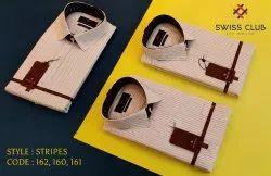 Fine Cotton Collar Neck Swiss Club Men's Formal Stripes Shirt