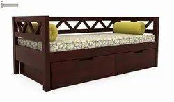 Teak Wood Modern Foam Sofa Cum Bed, Hall, Size: 6' X2.5'