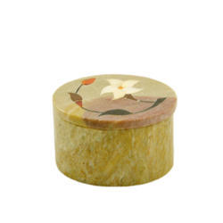 Handcrafted Round Soapstone Box