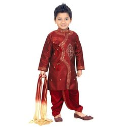 Silk Wedding Wear Red Kids Sherwani