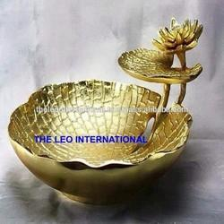 Decorative chip and dip bowl golden