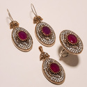 Pink Stone Turkish Ring Pendant Set