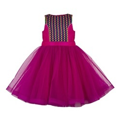 Girls Kids Pink Net & Satin Festive Wear Frocks, Age Group: 3-5 Year