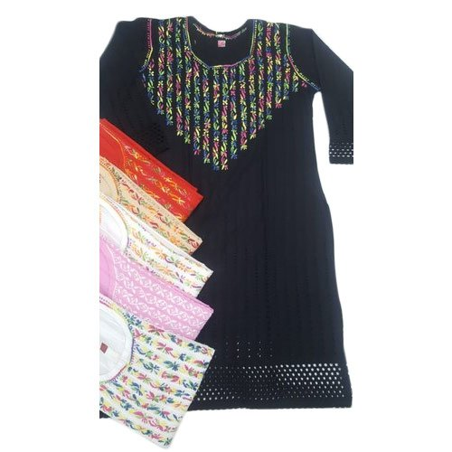 3/4th Sleeve Handwork Ladies Cotton Straight Chikan Kurtis, Dry clean, Size: 38-44 Inch