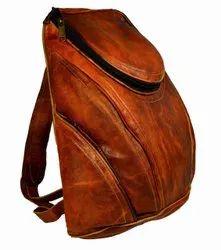 Vintage Brown Plain Genuine Leather Backpacks