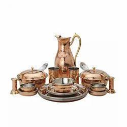 Hammered Copper Thali Dinner Set,  12.1 Inch Thali, 17piece
