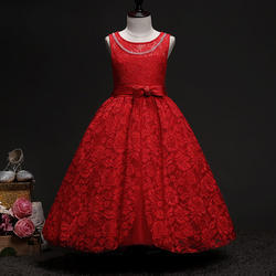 Cute Red Bow Applique Dress