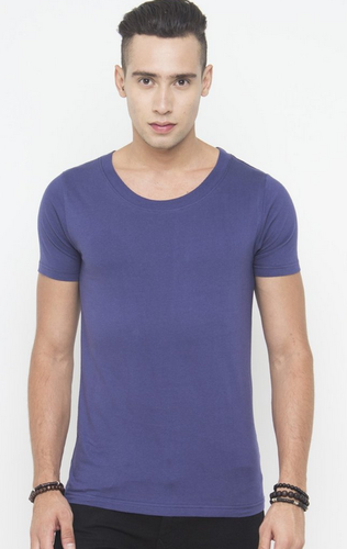official photos vast selection new Men Muscle Fit Scoop Neck Tee In Navy T Shirt