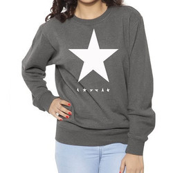 R-Neck White Star Womens Printed Cotton Sweat Shirt