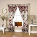 Ravi Exports Digital Printed Abstract Flowery Weave Red Curtain