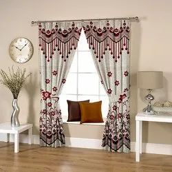Abstract Flowery Weave Red Curtain