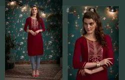 Kajree Lily Vol 16 By Kalaroop Rayon Embroidery Short Style Kurti