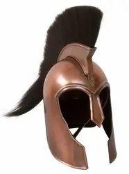 Greek Troy Armor Helmet Black Plume Steel Adult Wearable Size with Wooden Stand
