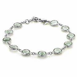 Silver Swirl Bracelet Bezel Set Amethyst Silver Bracelet