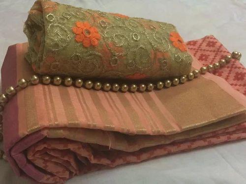 Orange Silk Kota Double Colour Saree With Printed Work Designer