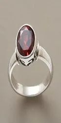 Hessonite Stone Natural (Gomed Silver Ring)