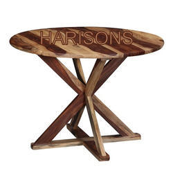 Red Brown Wooden Round Table, Height: 36 Inch