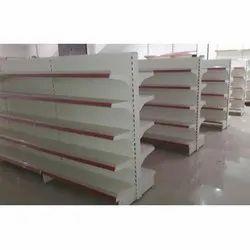 White, Red Wooden Five Level Supermarket Display Rack, 5 Shelves