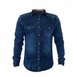 Slim Mens Stylish Denim Shirt
