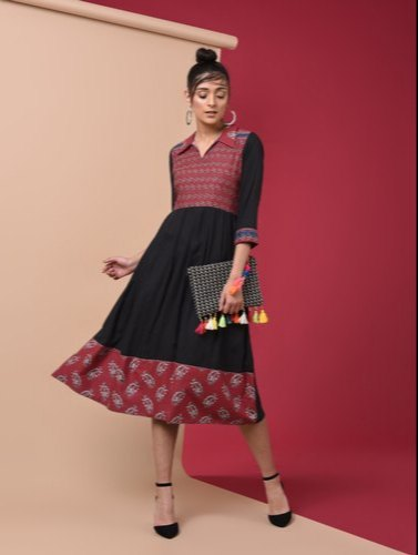 Printed Flared Black And Red Kurti
